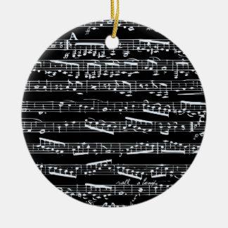 Black and white music notes ceramic ornament