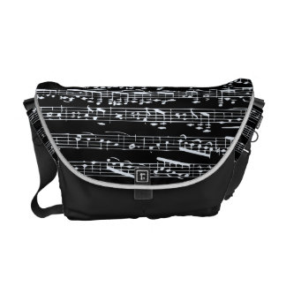 Black and white music notes courier bag