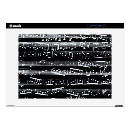 Black and white music notes decal for laptop