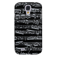 Black and white music notes galaxy s4 cases