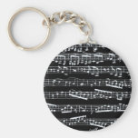 Black and white music notes key chain
