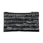 Black and white music notes makeup bag
