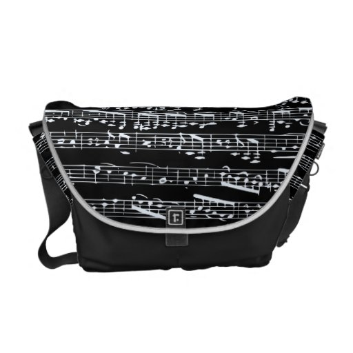 Black and white music notes commuter bag