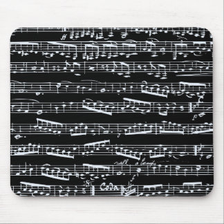 Black and white music notes mouse pad