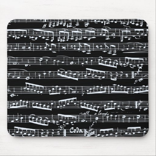Black and white music notes mousepad
