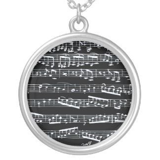 Black and white music notes personalized necklace