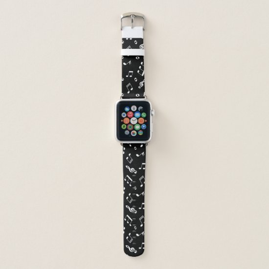 Black and White Music Notes Pattern Apple Watch Band