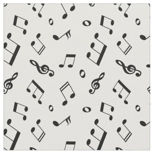 Black and White Music Notes Pattern Fabric