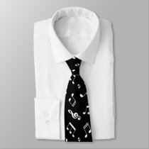 Black and White Music Notes Pattern Neck Tie