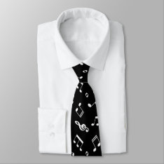 Black And White Music Notes Pattern Neck Tie at Zazzle