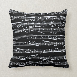 Black and white music notes throw pillow