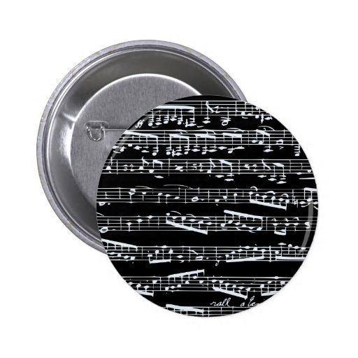 Black and white music notes pinback button