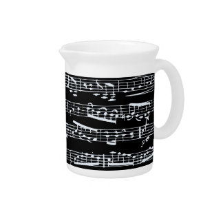 Black and white music notes pitchers