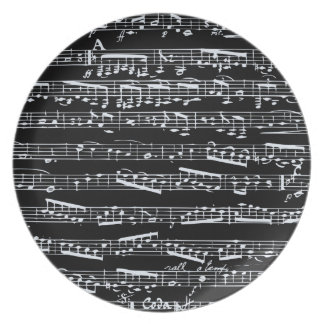 Black and white music notes party plates