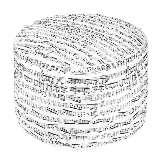 Black and white music notes pouf