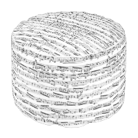 Black and white music notes round pouf
