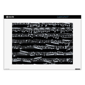 Black and white music notes laptop decals