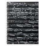 Black and white music notes spiral notebook