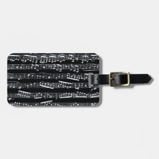 Black and white music notes tag for bags