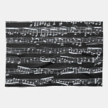 Black and white music notes towel
