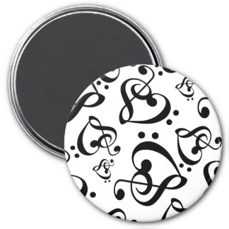 Black and white Music Pattern Magnet
