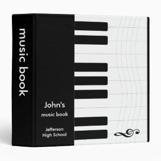 Black and White Music Piano 3 Ring Binder