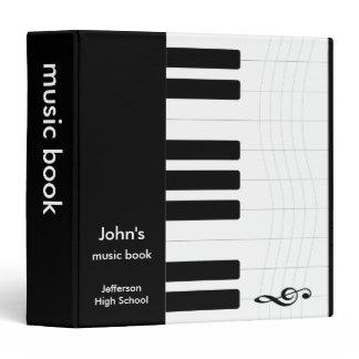 Black and White Music Piano 3 Ring Binder