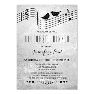 Black and White Music Rehearsal Dinner Invitation