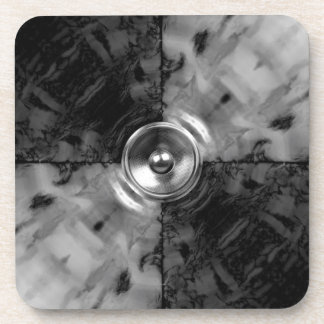 Black and white music speaker beverage coaster