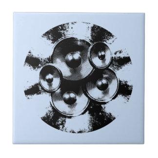 Black and white music speakers ceramic tile