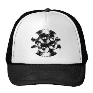 Black and white music speakers in a circle trucker hat
