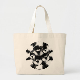 Black and white music speakers large tote bag