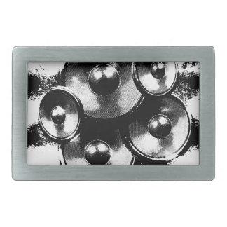 Black and white music speakers rectangular belt buckle