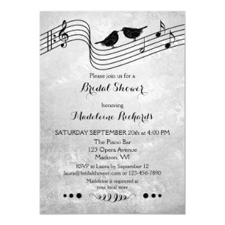 Black And White Music Themed Bridal Shower Invite at Zazzle