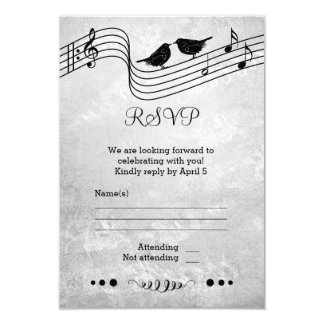 Black and White Music Themed Wedding RSVP Card