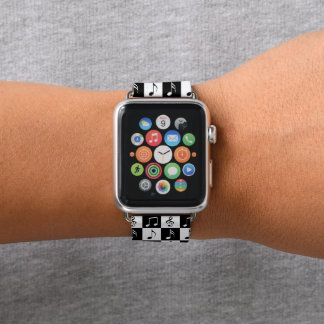 Black and White Musical Checker Apple Watch Band