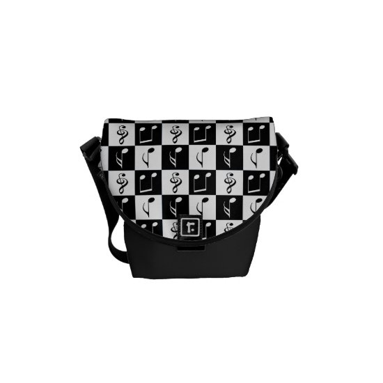 Black and White Musical Checker Pattern Courier Bag