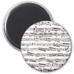 Black and white musical notes 2 inch round magnet
