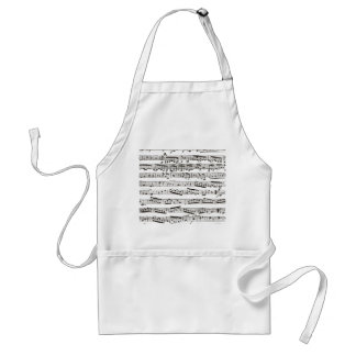 Black and white musical notes adult apron