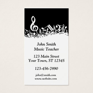 Black and White Musical Notes Business Card