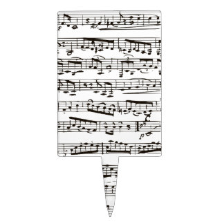 Black and white musical notes rectangle cake topper