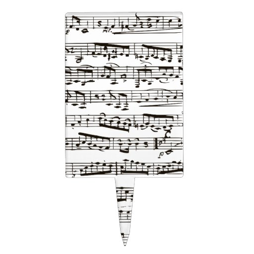 Black and white musical notes cake toppers