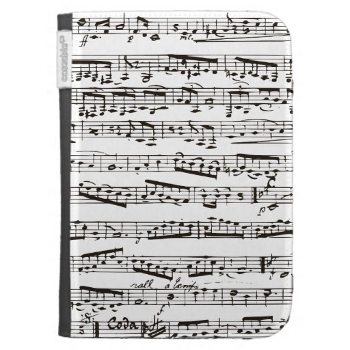 Black and white musical notes cases for kindle