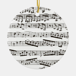Black and white musical notes ceramic ornament