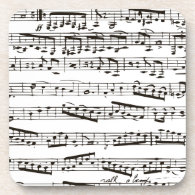Black and white musical notes coasters