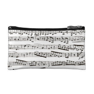 Black and white musical notes cosmetics bags