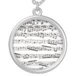 Black and white musical notes custom necklace
