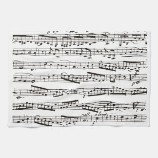 Black and white musical notes hand towel