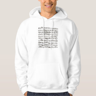 Black and white musical notes hoodie