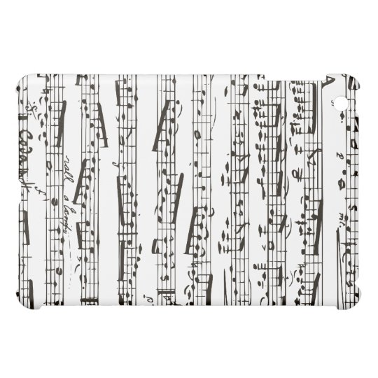 Black and white musical notes iPad mini cases